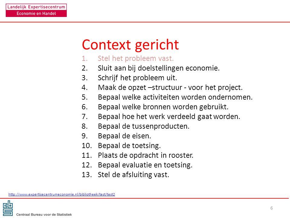 Context gericht 1.Stel het probleem vast. 2.Sluit aan bij doelstellingen economie. 3.Schrijf het probleem uit. 4.Maak de opzet –structuur - voor het p