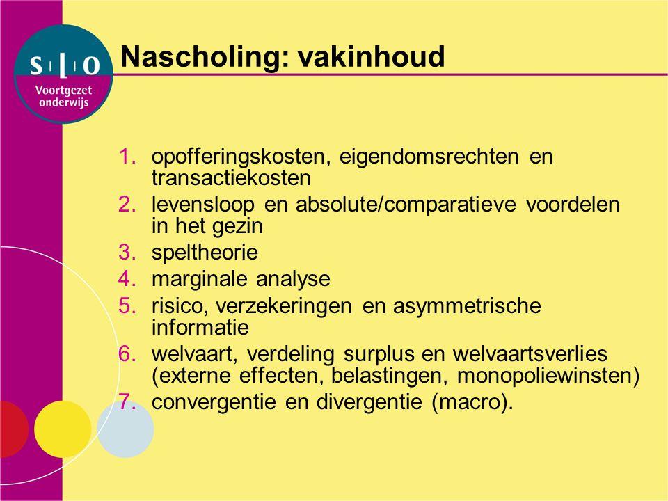 Nascholing: vakinhoud 1.opofferingskosten, eigendomsrechten en transactiekosten 2.levensloop en absolute/comparatieve voordelen in het gezin 3.spelthe