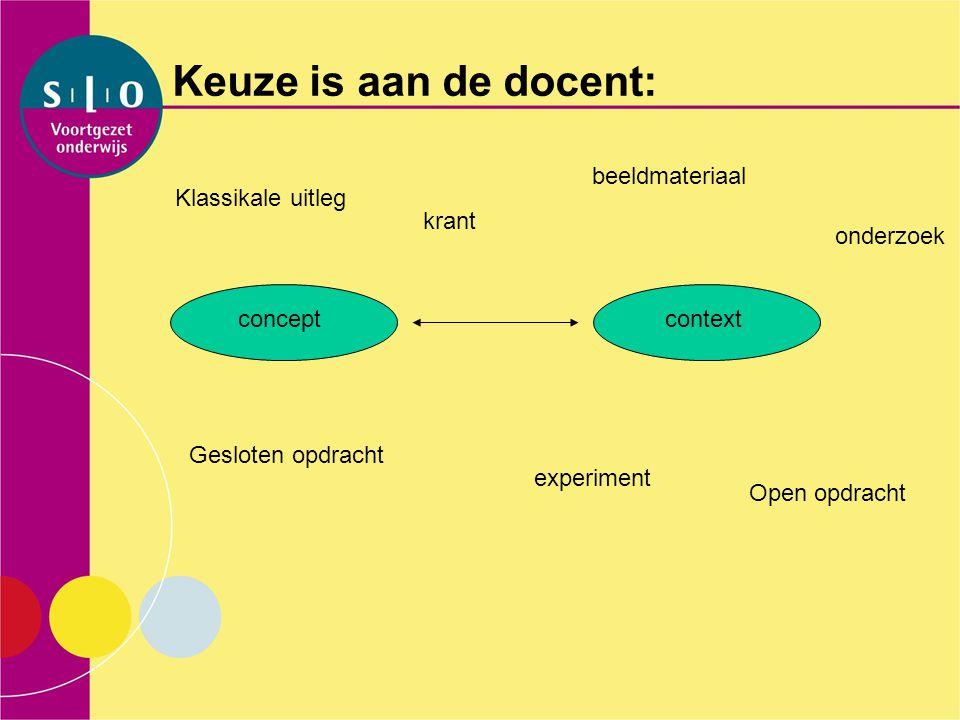 Keuze is aan de docent: conceptcontext beeldmateriaal experiment Klassikale uitleg krant Gesloten opdracht Open opdracht onderzoek