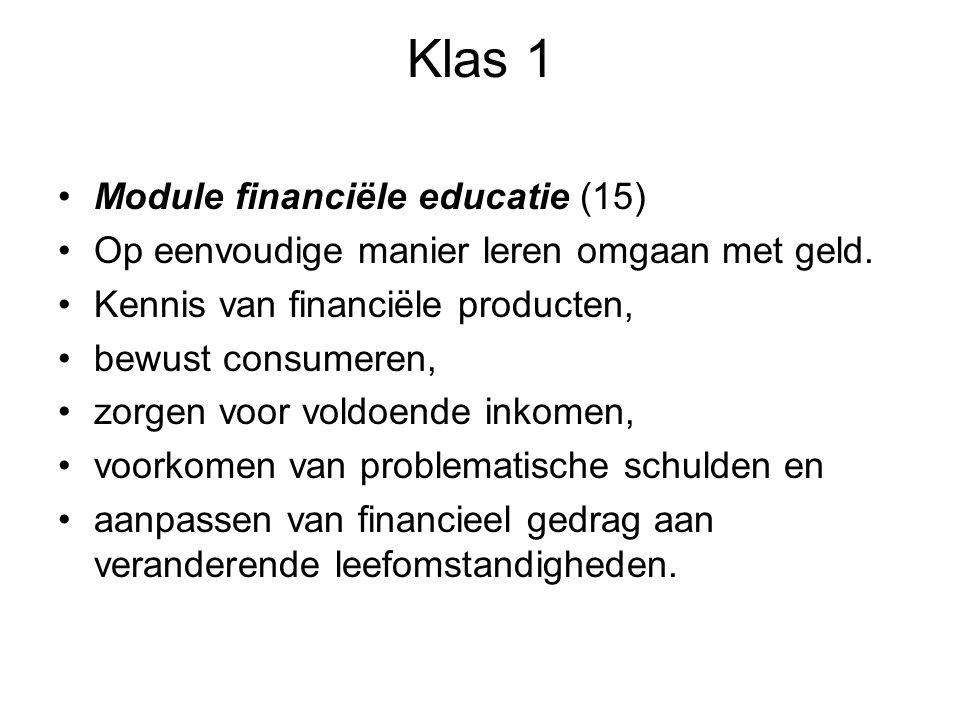 Klas 1 Module financiële educatie (15) Op eenvoudige manier leren omgaan met geld. Kennis van financiële producten, bewust consumeren, zorgen voor vol