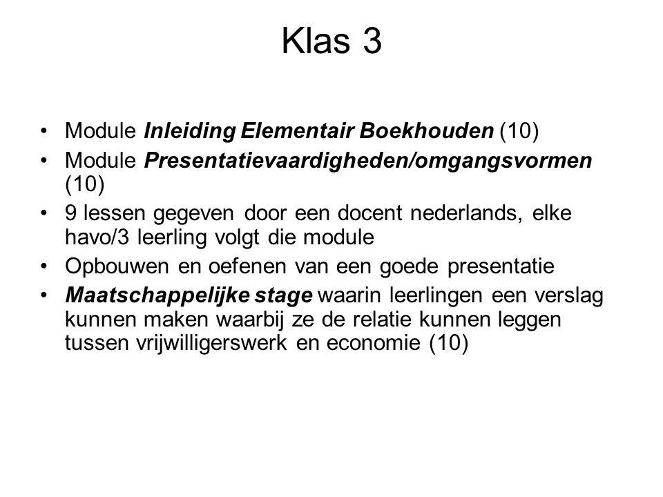 Klas 3 Module Inleiding Elementair Boekhouden (10) Module Presentatievaardigheden/omgangsvormen (10) 9 lessen gegeven door een docent nederlands, elke