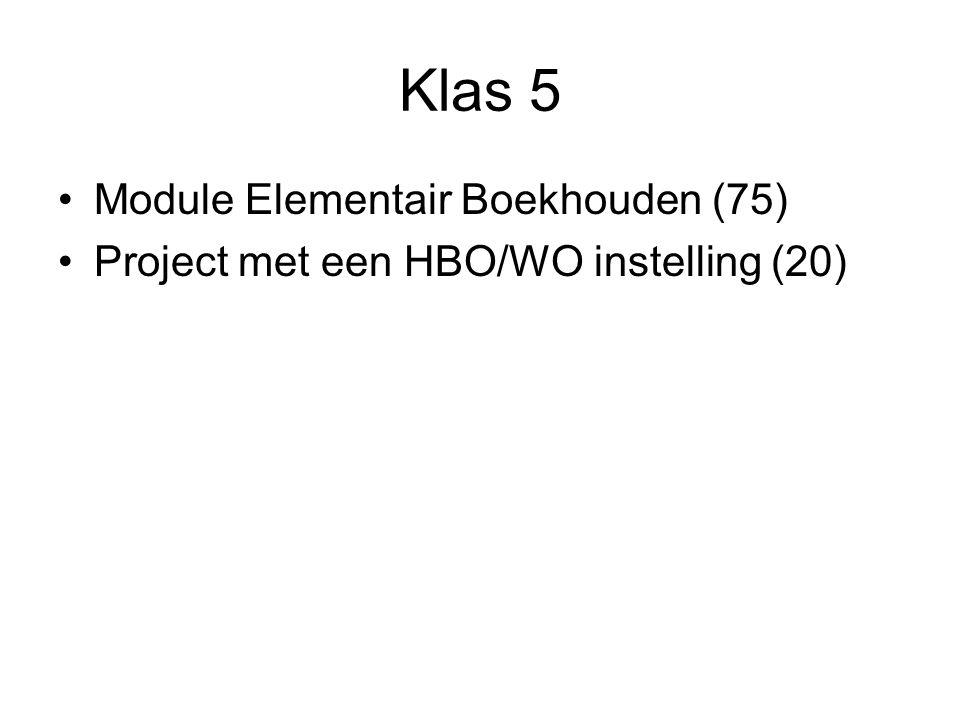 Klas 5 Module Elementair Boekhouden (75) Project met een HBO/WO instelling (20)