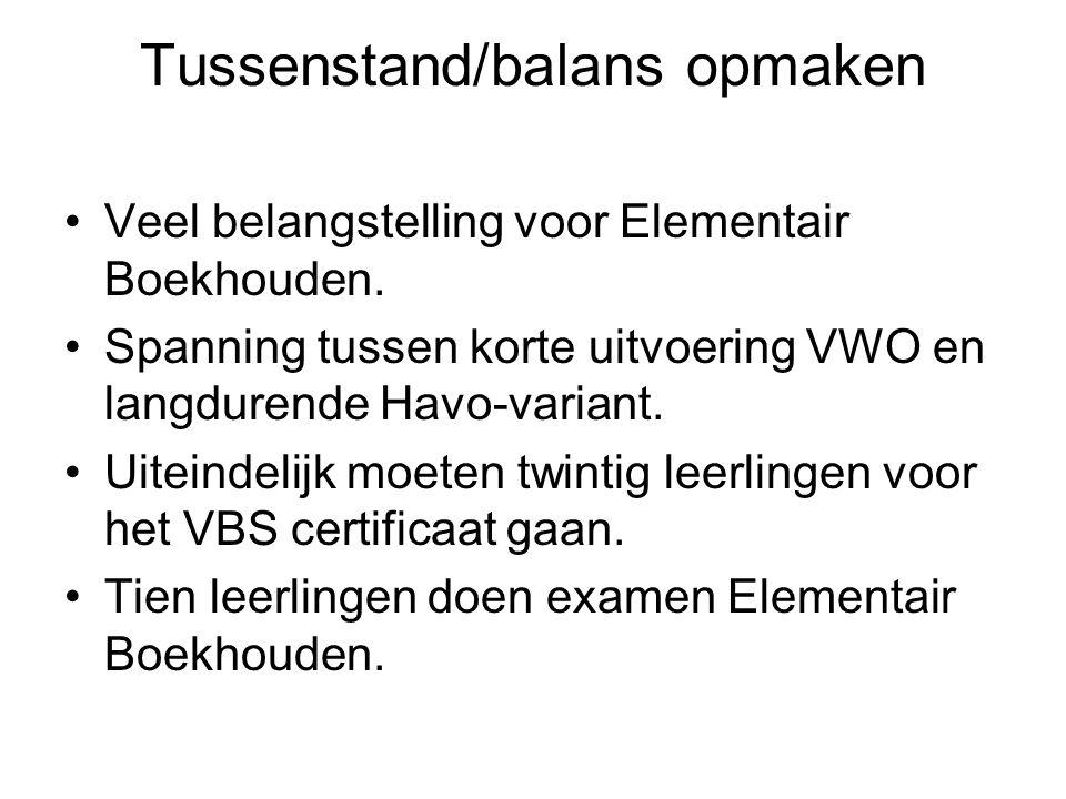 Tussenstand/balans opmaken Veel belangstelling voor Elementair Boekhouden. Spanning tussen korte uitvoering VWO en langdurende Havo-variant. Uiteindel