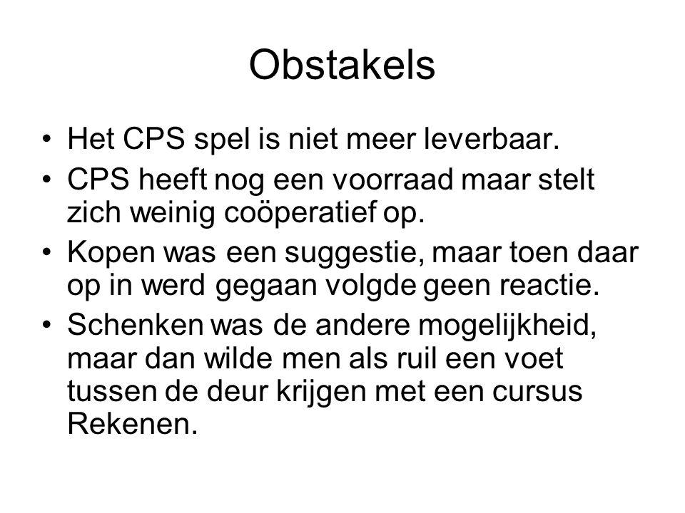 Obstakels Het CPS spel is niet meer leverbaar. CPS heeft nog een voorraad maar stelt zich weinig coöperatief op. Kopen was een suggestie, maar toen da