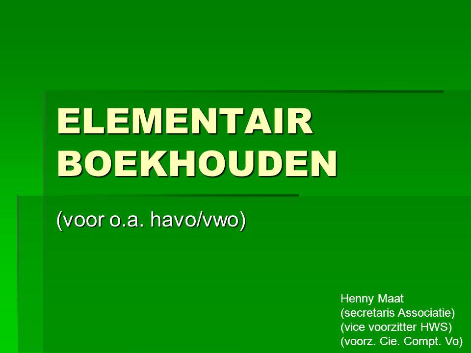 ELEMENTAIR BOEKHOUDEN (voor o.a.