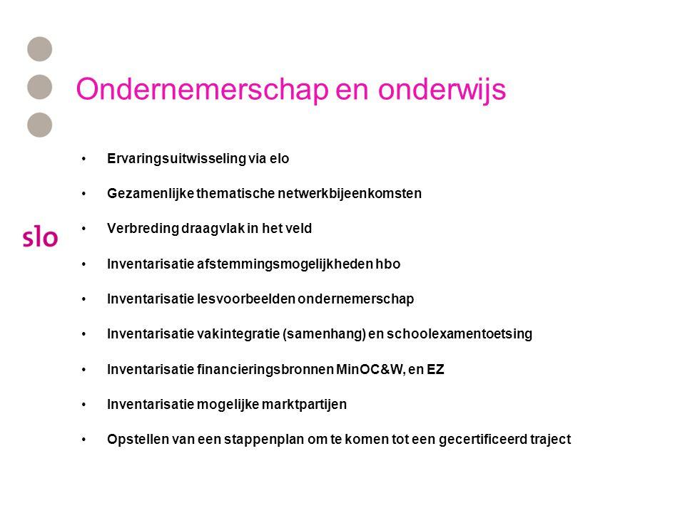 Ondernemerschap en onderwijs Heeft u interesse in deelname: mail naar l.bakker@slo.nl