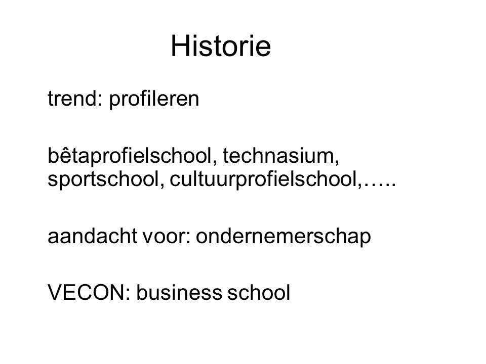 Historie trend: profileren bêtaprofielschool, technasium, sportschool, cultuurprofielschool,….. aandacht voor: ondernemerschap VECON: business school