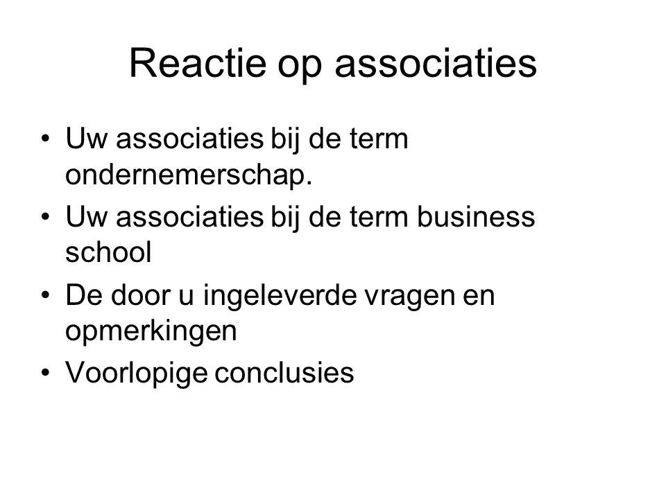 Reactie op associaties Uw associaties bij de term ondernemerschap. Uw associaties bij de term business school De door u ingeleverde vragen en opmerkin