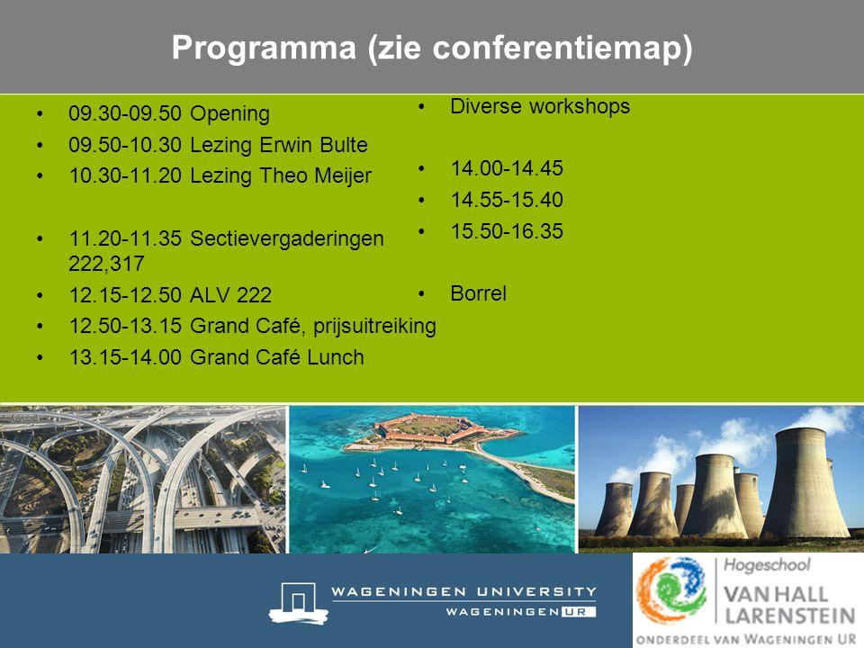 09.30-09.50 Opening 09.50-10.30 Lezing Erwin Bulte 10.30-11.20 Lezing Theo Meijer 11.20-11.35 Sectievergaderingen 222,317 12.15-12.50 ALV 222 12.50-13