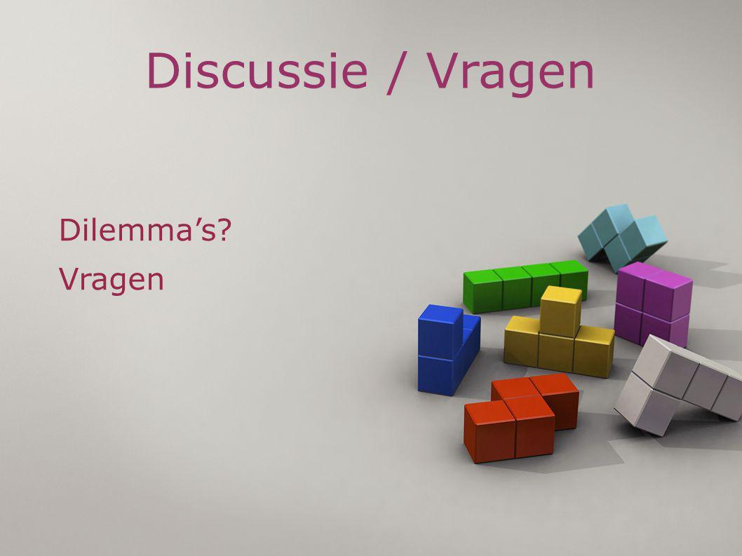 Discussie / Vragen Dilemma's? Vragen