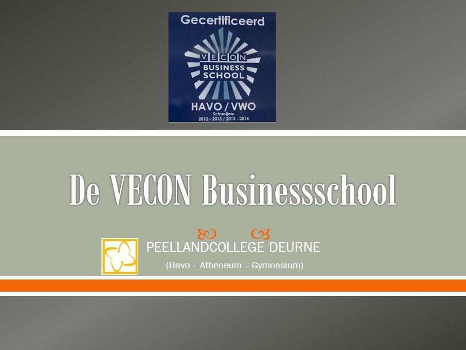  Veconbusinessschool sinds Schooljaar 2012/'13  2 jarige pilot voor de VWO- afdeling  Uitstekende bijdrage aan de (bedrijfs-)economische ontwikkeling van de leerlingen