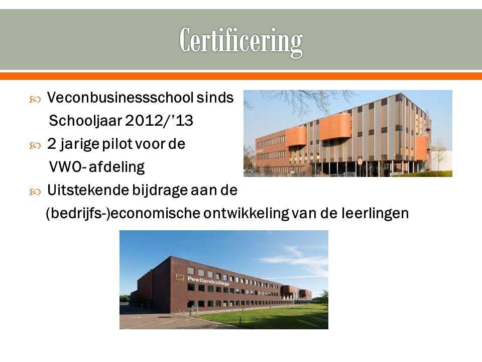  Veconbusinessschool sinds Schooljaar 2012/'13  2 jarige pilot voor de VWO- afdeling  Uitstekende bijdrage aan de (bedrijfs-)economische ontwikkeli