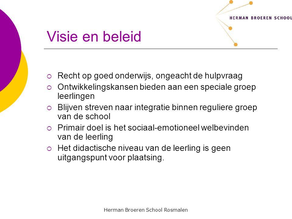 Herman Broeren School Rosmalen Doelgroep Leerlingen met de diagnose ASS die niet of nauwelijks kunnen functioneren in een reguliere stamgroep van de school.