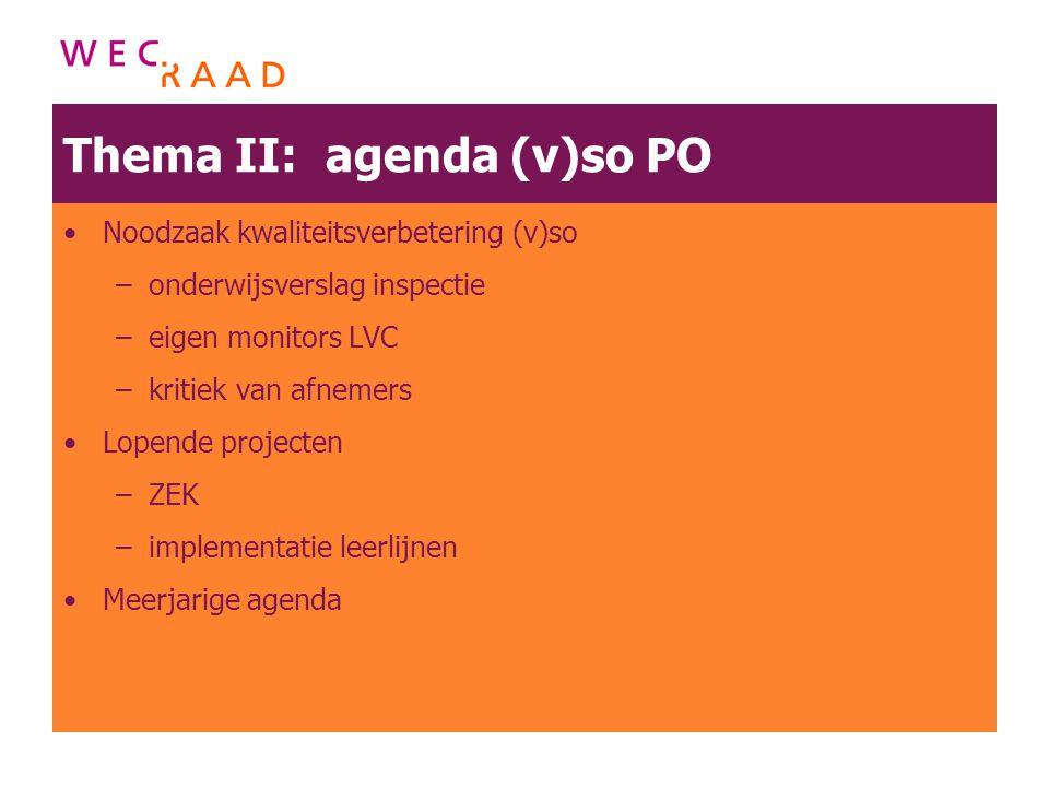 Thema II: agenda (v)so PO Noodzaak kwaliteitsverbetering (v)so –onderwijsverslag inspectie –eigen monitors LVC –kritiek van afnemers Lopende projecten