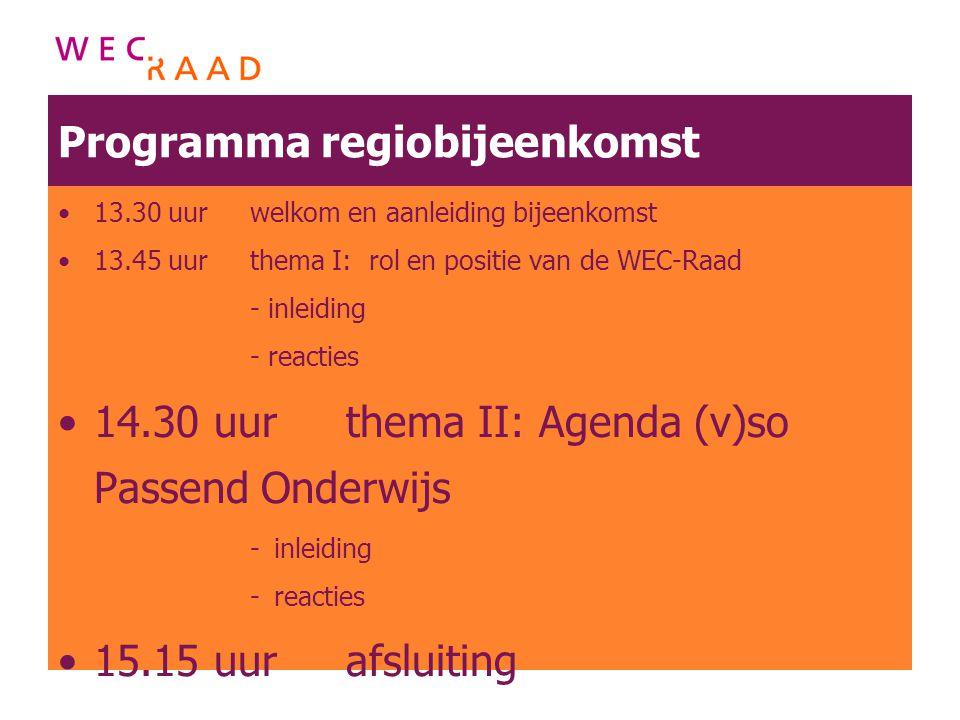 Programma regiobijeenkomst 13.30 uurwelkom en aanleiding bijeenkomst 13.45 uur thema I: rol en positie van de WEC-Raad - inleiding - reacties 14.30 uu