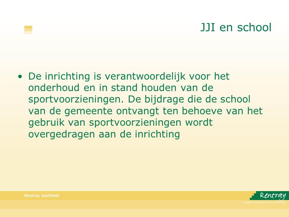 JJI en school De inrichting is verantwoordelijk voor het onderhoud en in stand houden van de sportvoorzieningen.