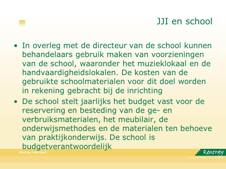 JJI en school In overleg met de directeur van de school kunnen behandelaars gebruik maken van voorzieningen van de school, waaronder het muzieklokaal en de handvaardigheidslokalen.