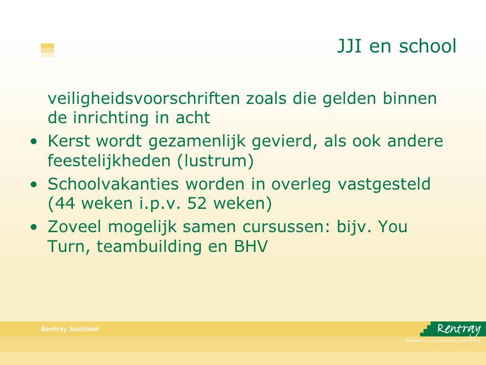 JJI en school veiligheidsvoorschriften zoals die gelden binnen de inrichting in acht Kerst wordt gezamenlijk gevierd, als ook andere feestelijkheden (lustrum) Schoolvakanties worden in overleg vastgesteld (44 weken i.p.v.