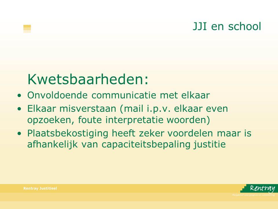 JJI en school Kwetsbaarheden: Onvoldoende communicatie met elkaar Elkaar misverstaan (mail i.p.v.