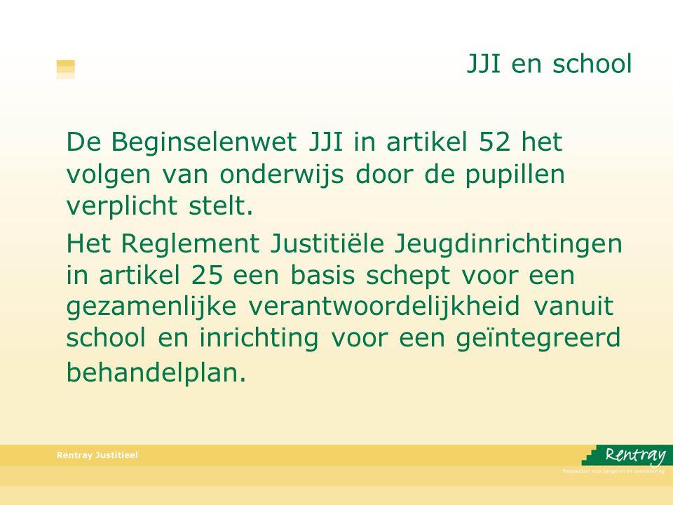 JJI en school De Beginselenwet JJI in artikel 52 het volgen van onderwijs door de pupillen verplicht stelt.