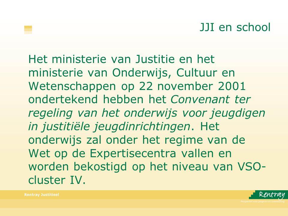 JJI en school Het ministerie van Justitie en het ministerie van Onderwijs, Cultuur en Wetenschappen op 22 november 2001 ondertekend hebben het Convenant ter regeling van het onderwijs voor jeugdigen in justitiële jeugdinrichtingen.