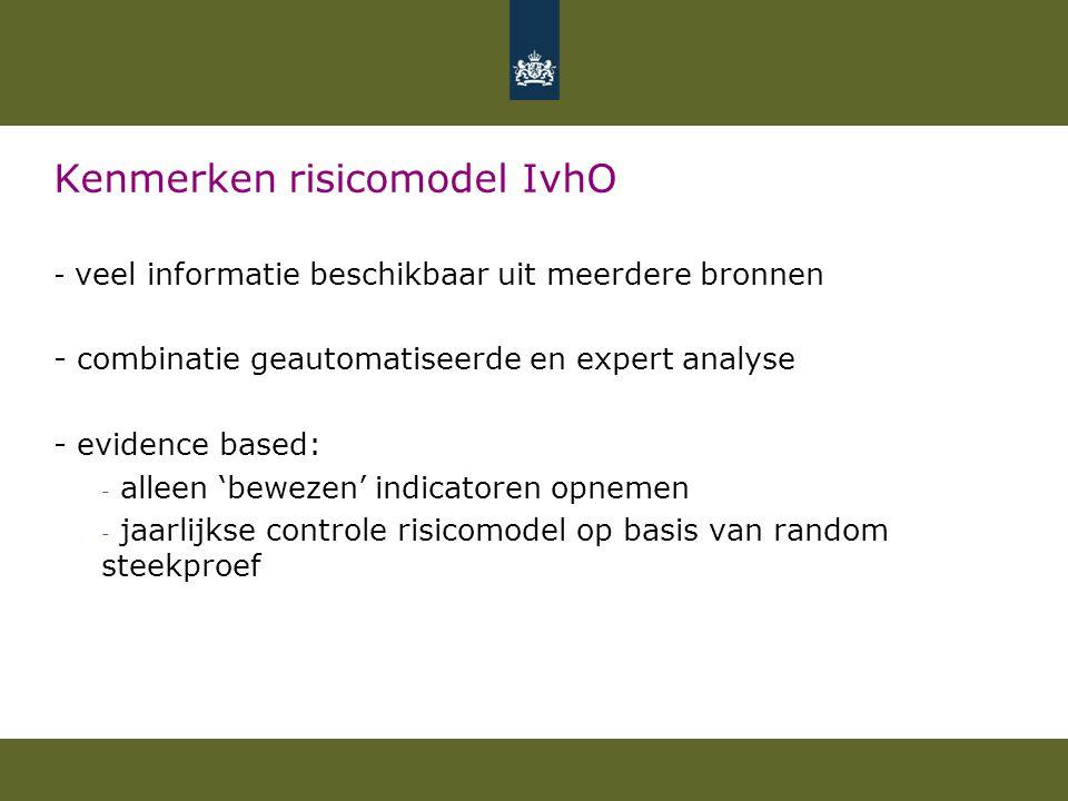Kenmerken risicomodel IvhO - veel informatie beschikbaar uit meerdere bronnen - combinatie geautomatiseerde en expert analyse - evidence based: - alle