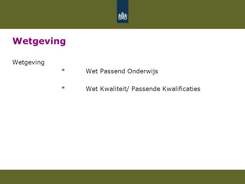 Wetgeving *Wet Passend Onderwijs *Wet Kwaliteit/ Passende Kwalificaties
