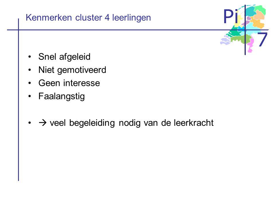 Pi 7 Kenmerken cluster 4 leerlingen Snel afgeleid Niet gemotiveerd Geen interesse Faalangstig  veel begeleiding nodig van de leerkracht