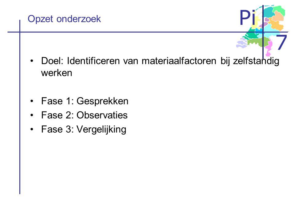Pi 7 Opzet onderzoek Doel: Identificeren van materiaalfactoren bij zelfstandig werken Fase 1: Gesprekken Fase 2: Observaties Fase 3: Vergelijking