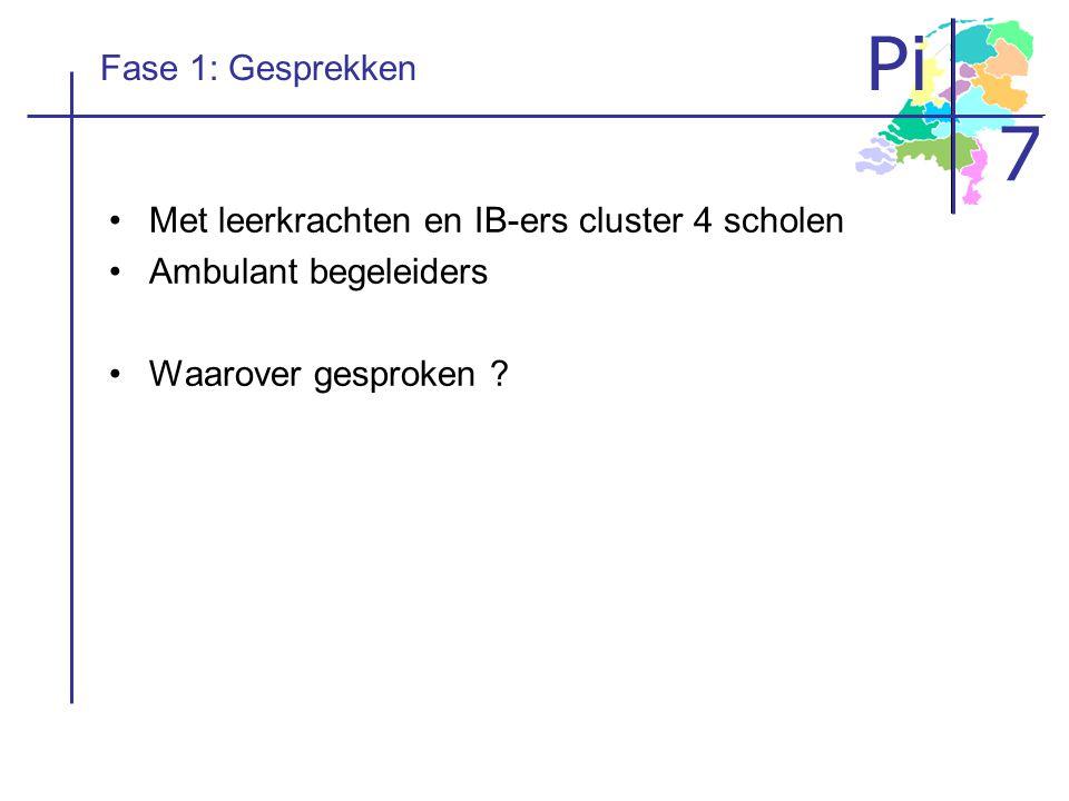 Pi 7 Fase 1: Gesprekken Met leerkrachten en IB-ers cluster 4 scholen Ambulant begeleiders Waarover gesproken ?