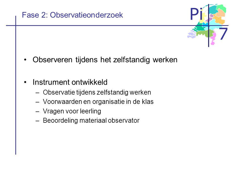 Pi 7 Fase 2: Observatieonderzoek Observeren tijdens het zelfstandig werken Instrument ontwikkeld –Observatie tijdens zelfstandig werken –Voorwaarden e
