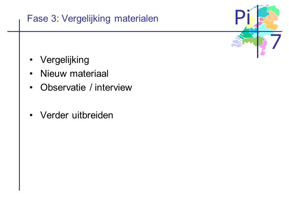 Pi 7 Fase 3: Vergelijking materialen Vergelijking Nieuw materiaal Observatie / interview Verder uitbreiden