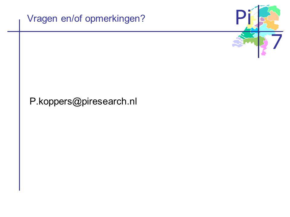 Pi 7 Vragen en/of opmerkingen? P.koppers@piresearch.nl