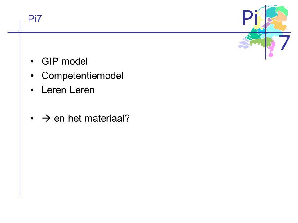 Pi 7 Pi7 GIP model Competentiemodel Leren  en het materiaal?