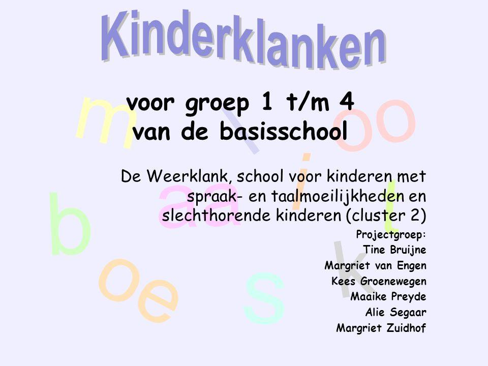 m aa oo t oe s k l i b voor groep 1 t/m 4 van de basisschool De Weerklank, school voor kinderen met spraak- en taalmoeilijkheden en slechthorende kind