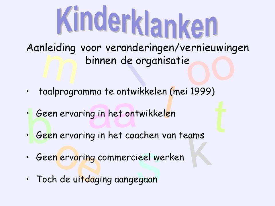 m aa oo t oe s k l i b Aanleiding voor veranderingen/vernieuwingen binnen de organisatie taalprogramma te ontwikkelen (mei 1999) Geen ervaring in het