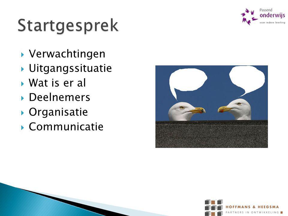  Verwachtingen  Uitgangssituatie  Wat is er al  Deelnemers  Organisatie  Communicatie