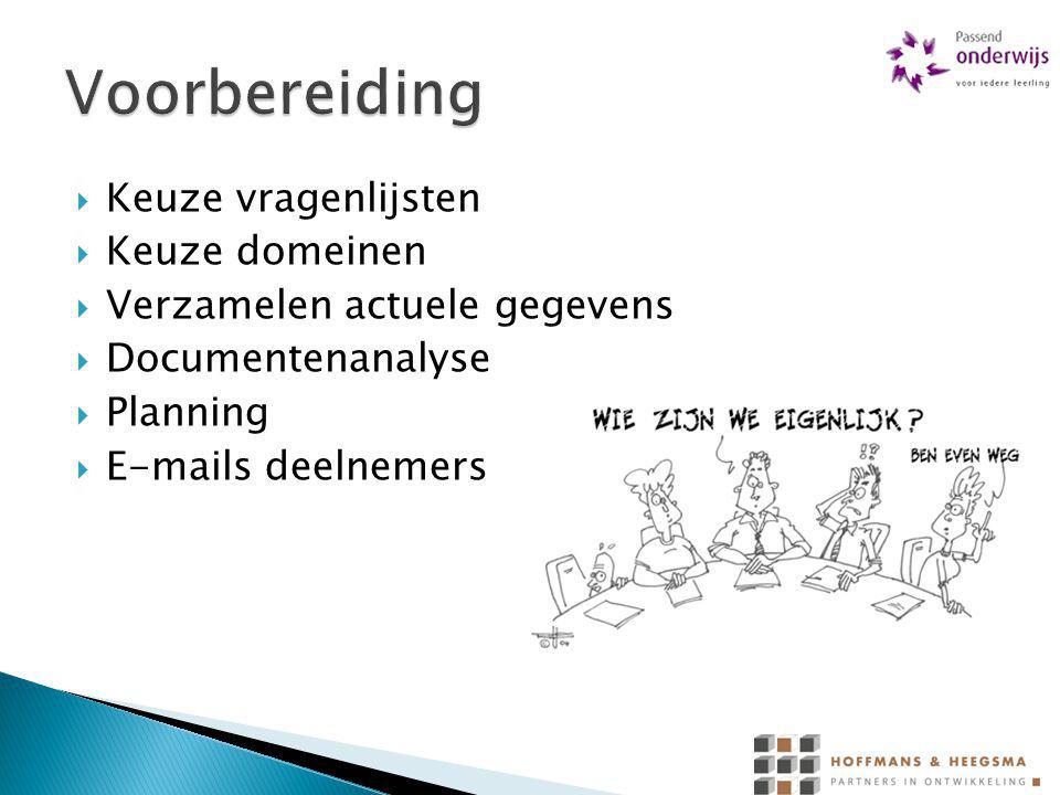  Keuze vragenlijsten  Keuze domeinen  Verzamelen actuele gegevens  Documentenanalyse  Planning  E-mails deelnemers