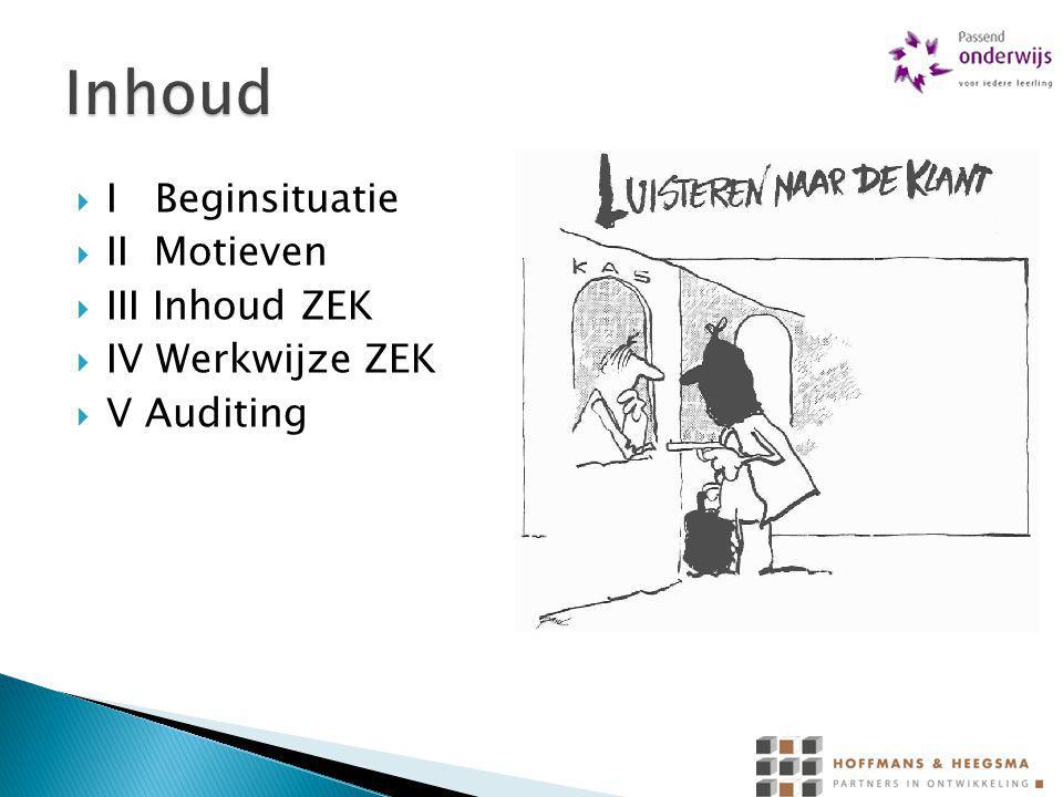  I Beginsituatie  II Motieven  III Inhoud ZEK  IV Werkwijze ZEK  V Auditing