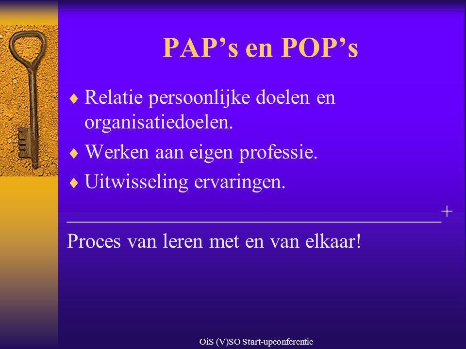 OiS (V)SO Start-upconferentie PAP's en POP's  Relatie persoonlijke doelen en organisatiedoelen.  Werken aan eigen professie.  Uitwisseling ervaring