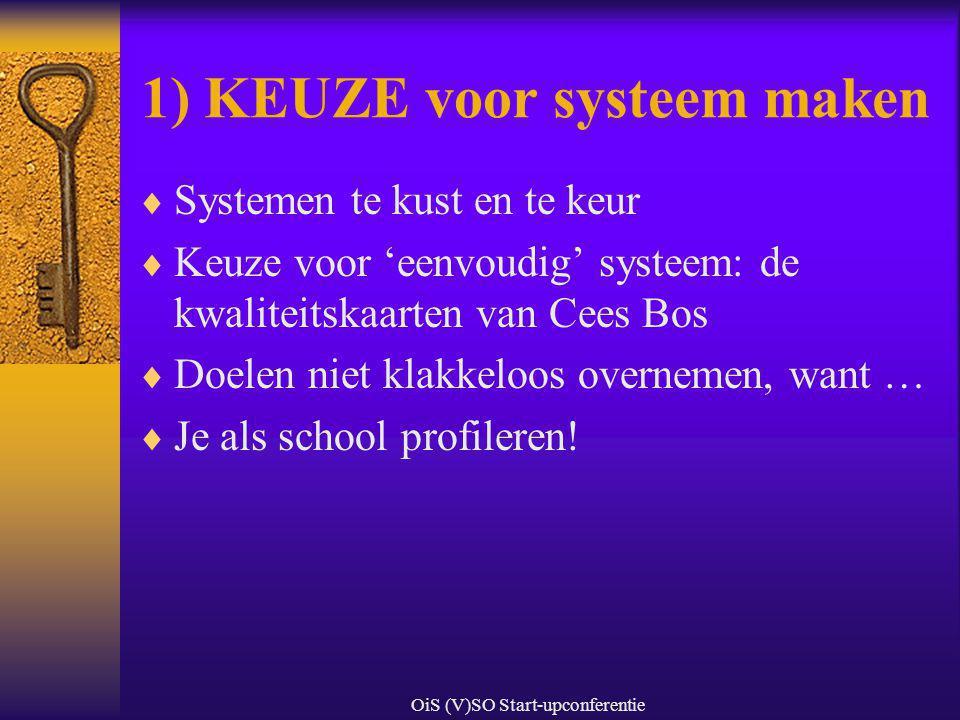 OiS (V)SO Start-upconferentie 1) KEUZE voor systeem maken  Systemen te kust en te keur  Keuze voor 'eenvoudig' systeem: de kwaliteitskaarten van Cee