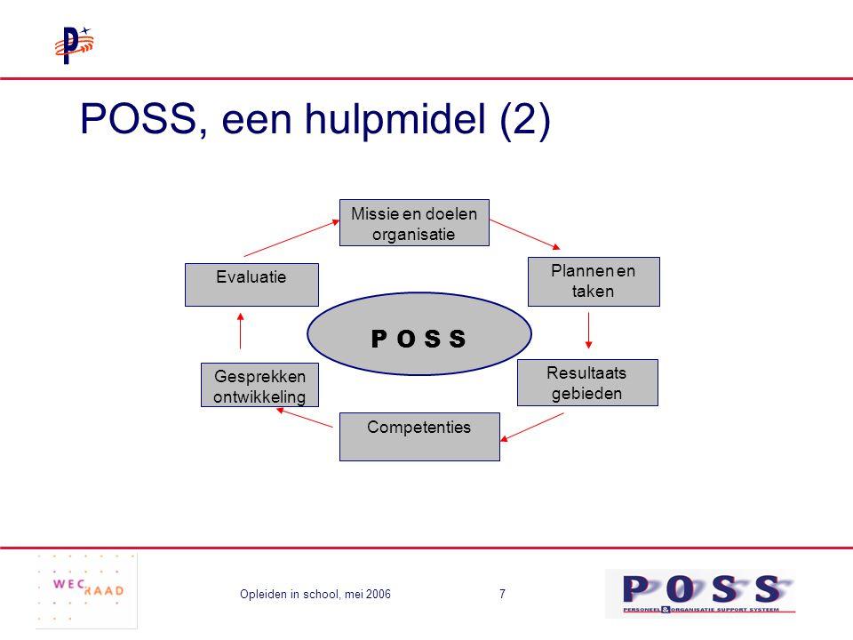 Opleiden in school, mei 20067 POSS, een hulpmidel (2) P O S S Missie en doelen organisatie Evaluatie Resultaats gebieden Plannen en taken Competenties Gesprekken ontwikkeling