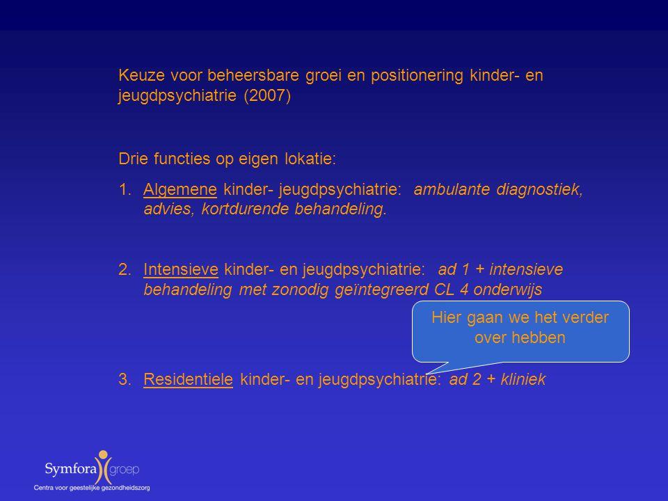 Keuze voor beheersbare groei en positionering kinder- en jeugdpsychiatrie (2007) Drie functies op eigen lokatie: 1.Algemene kinder- jeugdpsychiatrie: ambulante diagnostiek, advies, kortdurende behandeling.