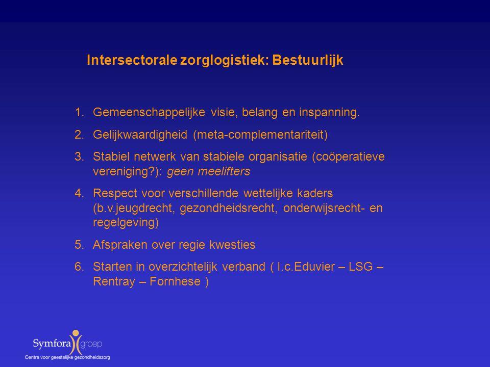 Intersectorale zorglogistiek: Bestuurlijk 1.Gemeenschappelijke visie, belang en inspanning. 2.Gelijkwaardigheid (meta-complementariteit) 3.Stabiel net