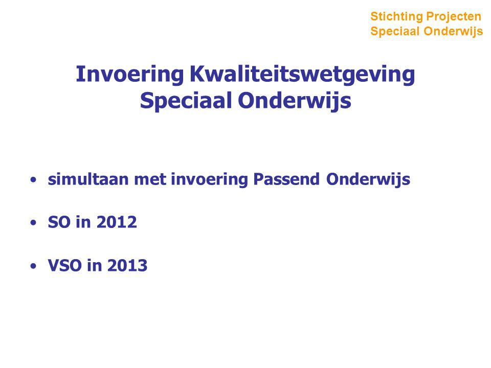 Invoering Kwaliteitswetgeving Speciaal Onderwijs simultaan met invoering Passend Onderwijs SO in 2012 VSO in 2013 Stichting Projecten Speciaal Onderwijs