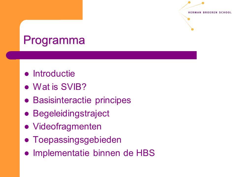 Programma Introductie Wat is SVIB? Basisinteractie principes Begeleidingstraject Videofragmenten Toepassingsgebieden Implementatie binnen de HBS