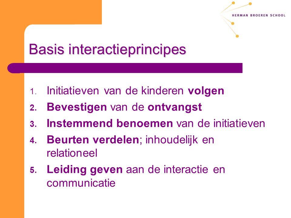Basis interactieprincipes 1. Initiatieven van de kinderen volgen 2. Bevestigen van de ontvangst 3. Instemmend benoemen van de initiatieven 4. Beurten