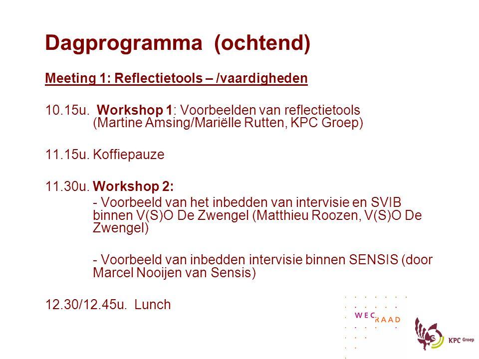 Dagprogramma (ochtend) Meeting 1: Reflectietools – /vaardigheden 10.15u.