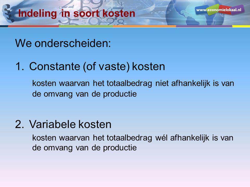 www.economielokaal.nl Constante kosten Constante (of vaste) kosten kosten waarvan het totaalbedrag niet afhankelijk is van de omvang van de productie Zoals: huur / pacht – afschrijvingen – rentelasten