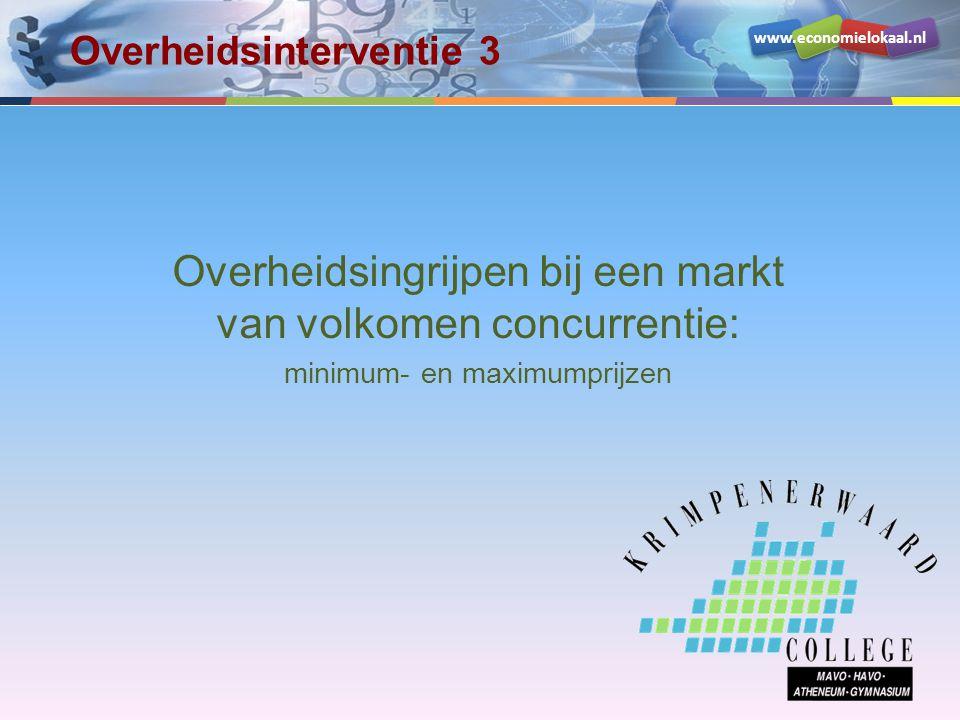 www.economielokaal.nl Volkomen concurrentie Marktmodel: Q v = -P + 100 Q a = 2P - 40 Evenwichtsprijs (€ 0,47) hoeveelheid × 1.000 prijs (in centen) 20 40 60 80 100 20406080100 QvQv QaQa